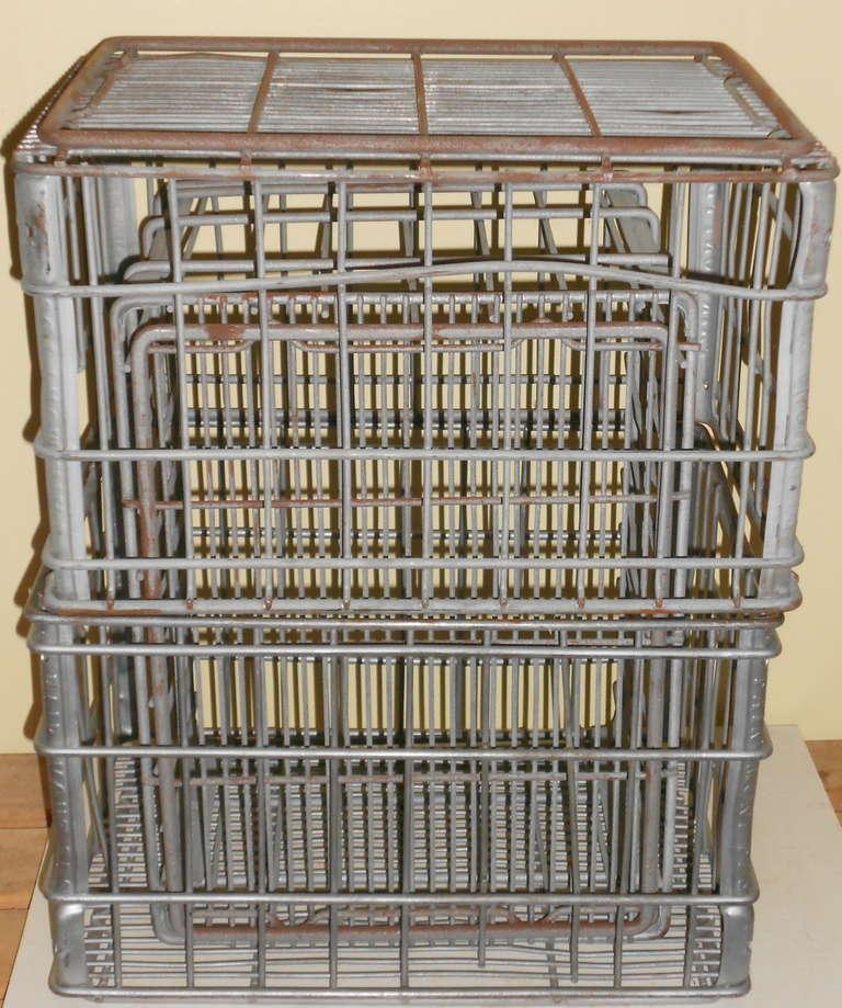 Galvanized Steel Milk Crates Circa 1940 Sold As Set Of