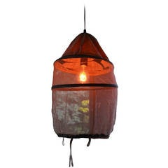 French Beekeeper's Hat as Pendant Light