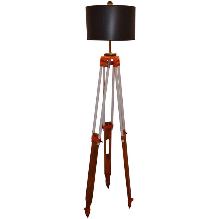 Surveyor tripod by david white as floor lamp for sale at for Surveyors floor lamp wood