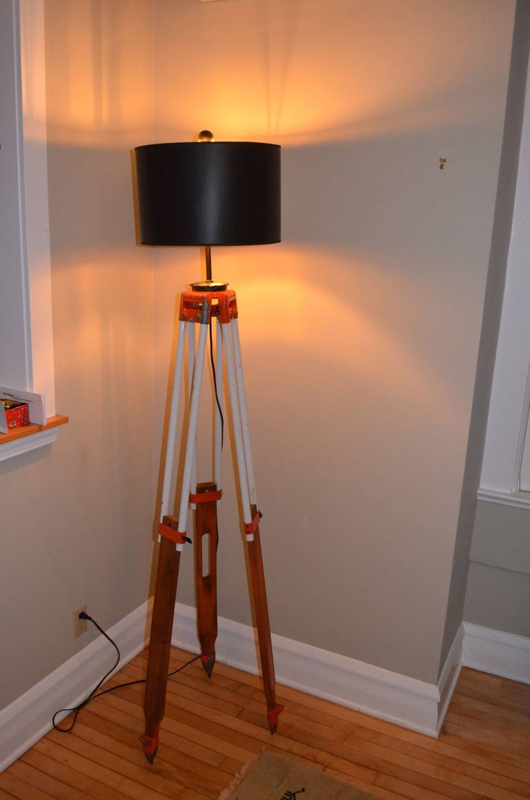 Surveyor Tripod By David White As Floor Lamp For Sale At 1stdibs