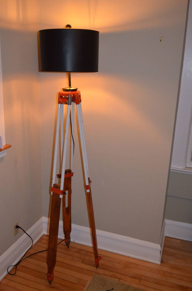 Surveyor Tripod By David White As Floor Lamp For Sale At