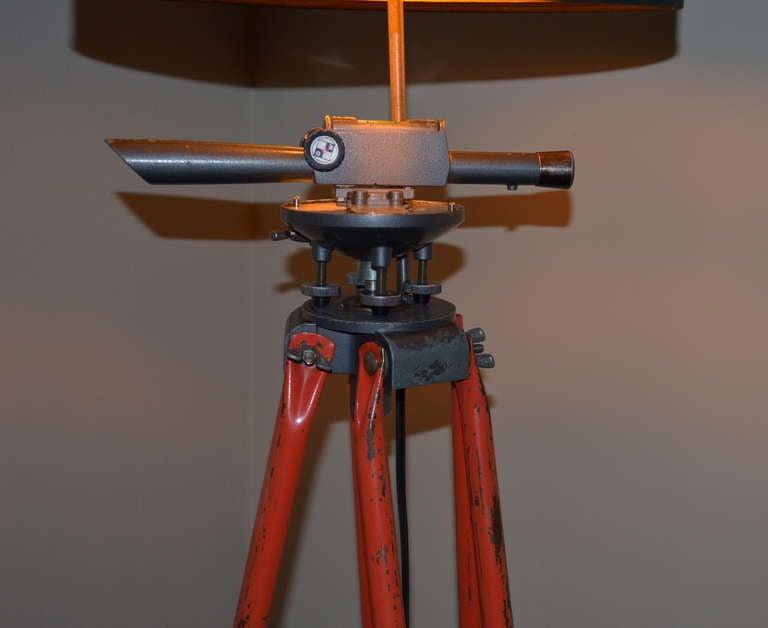 Surveyor Tripod By David White With Scope As Floor Lamp