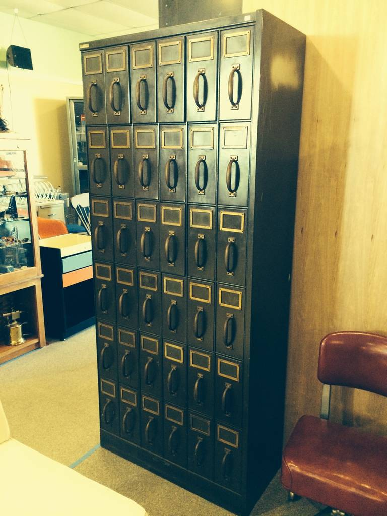 Large Antique Industrial Steel and Brass Vertical File Cabinet at ...
