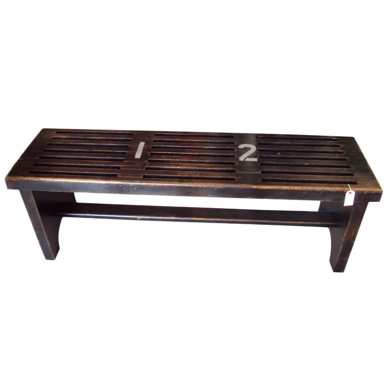 Gym locker room bench of reclaimed wood at stdibs