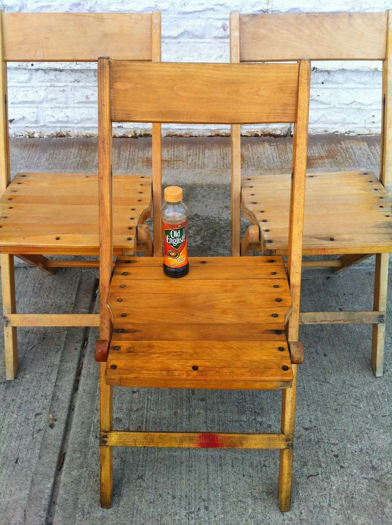 Mid 20th Century Vintage Wood Folding Chairs; 500 Available; Sold Only In  Lots