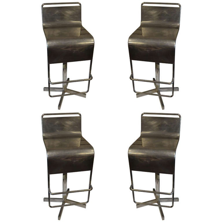 Mid Century Stainless Steel Bar Stools set of 4 at 1stdibs : 943132l from www.1stdibs.com size 768 x 768 jpeg 36kB