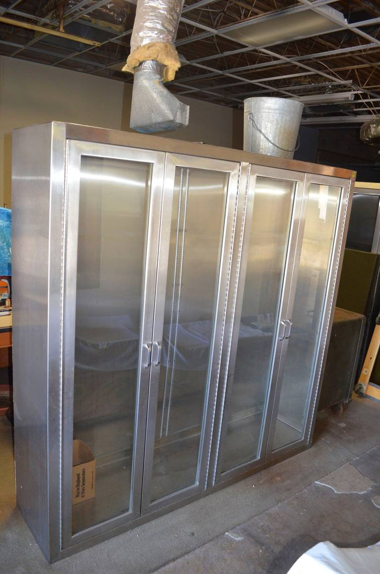 Stainless Steel Medical Cabinet With Full Length Glass Doors And Shelf  Brackets 2