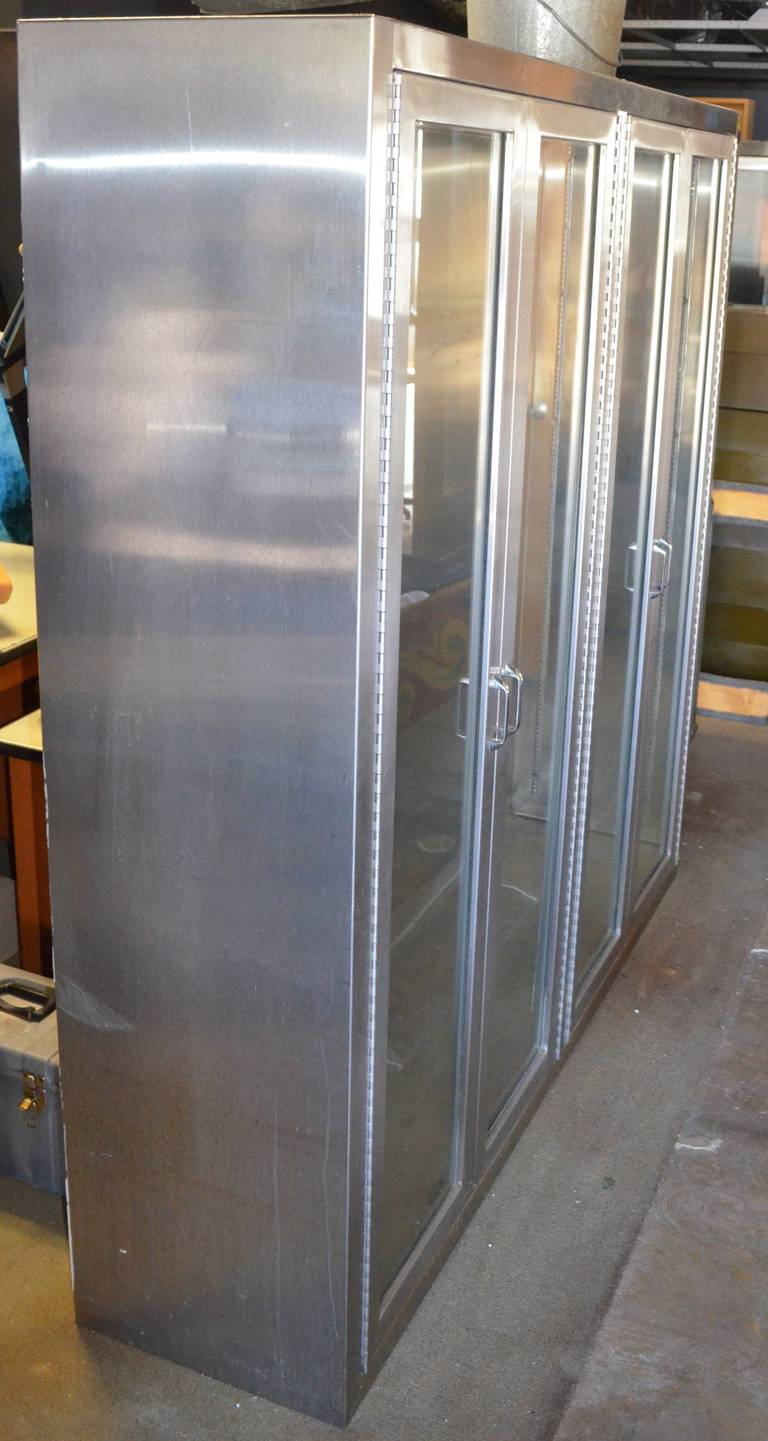 Stainless Steel Medical Cabinet with Full-length Glass Doors and ...