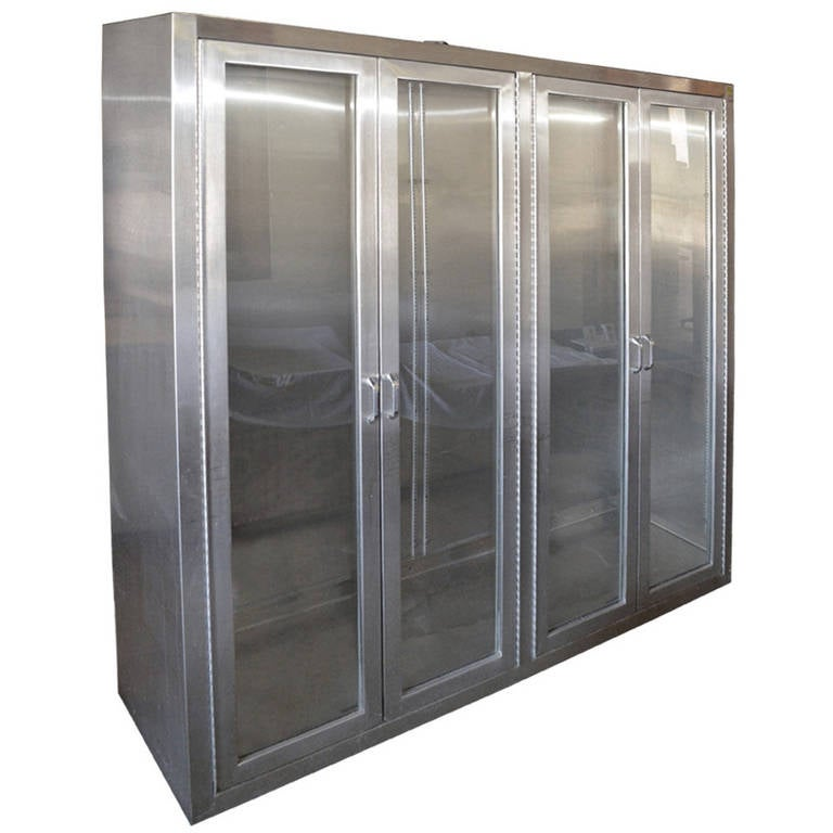 stainless steel medical cabinet with full length glass doors and rh 1stdibs com stainless steel medical cabinets vintage stainless steel medical storage cabinets