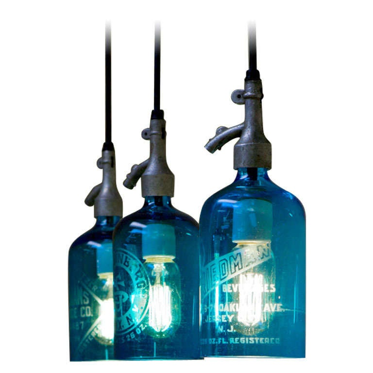 Etched Glass Seltzer Water Bottle Pendant Lights, Clear Or Blue; Price Per Light For Sale