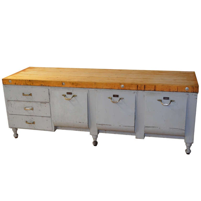Butcher block and steel kitchen island circa 1930 at 1stdibs for 1930 kitchen table