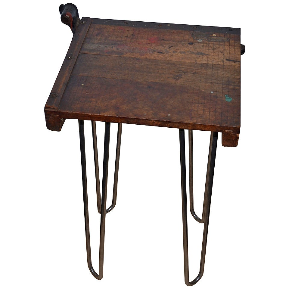table from vintage paper cutter mounted on hairpin legs at 1stdibs. Black Bedroom Furniture Sets. Home Design Ideas