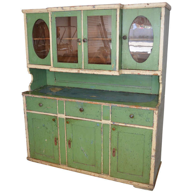 Late 19th century storage cabinet in green and blue 2 piece at 1stdibs - Green kitchen cabinets storage ...