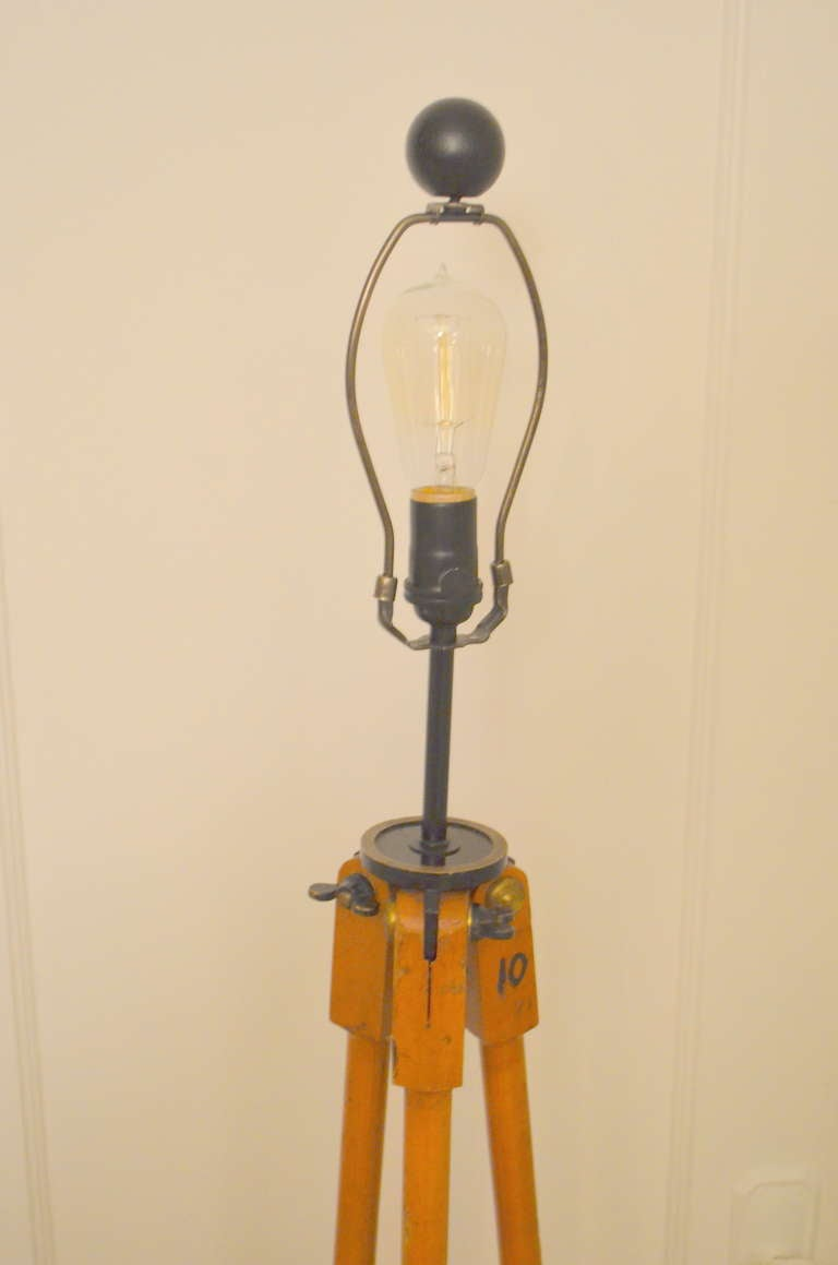 Surveyor tripod as wooden floor lamp at 1stdibs for Surveyors floor lamp wood