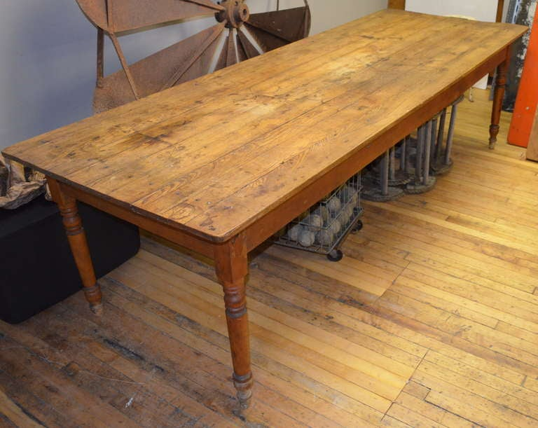 19th Century Pine Harvest Table 9 Long At 1stdibs