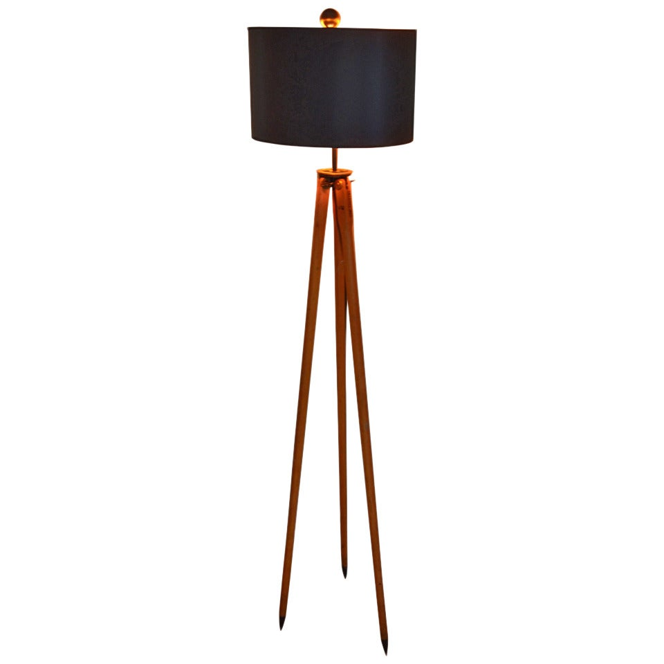 Surveyors Floor Lamp Wood Floor Lamp Created From Wooden Surveyor Tripod At 1stdibs