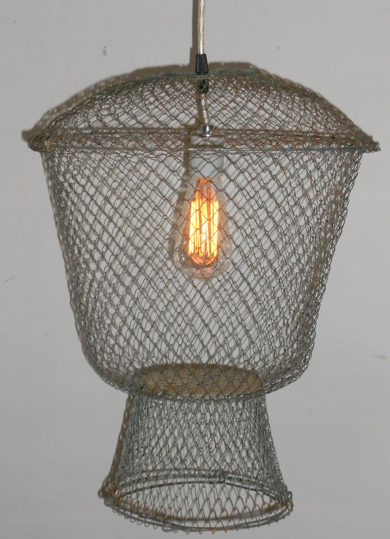 fish basket as pendant light at 1stdibs