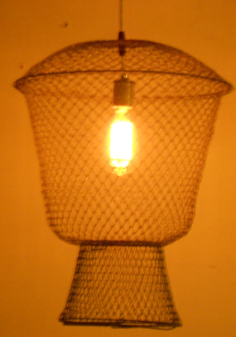 French Fish Basket As Pendant Light At 1stdibs
