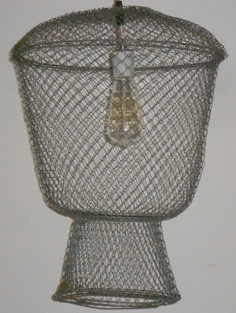 20th Century French Fish Basket as Pendant Light