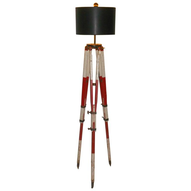 Surveyor39s wooden tripod as adjustable floor lamp at 1stdibs for Surveyors floor lamp wood