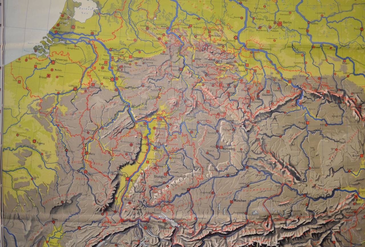 Topographical Map Of Germany.Schoolroom Topographic Map Of Germany With Contiguous France Italy
