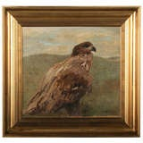Antique Oil Painting of Hawk/Falcon, Signed - Denmark circa 1880
