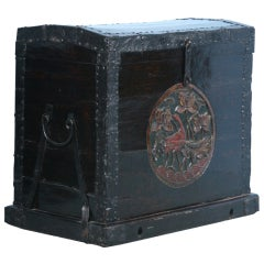 Large Antique Carved & Painted Chinese Trunk, Impressive Wrought Iron Details