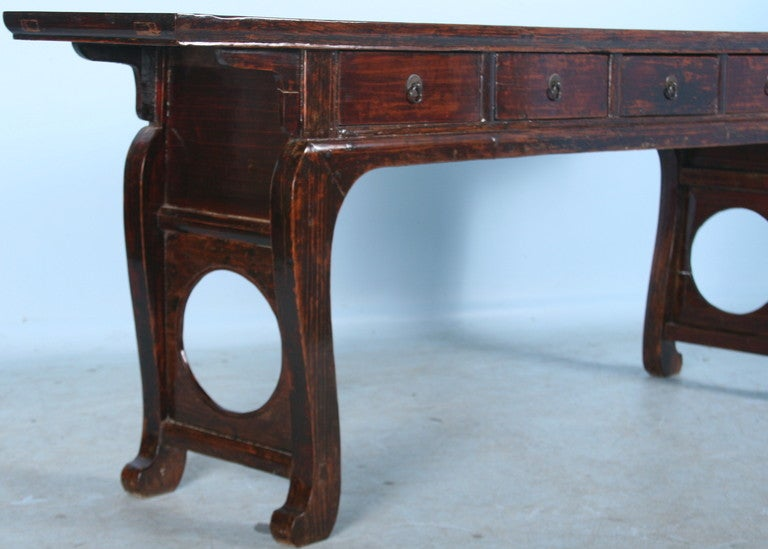 Antique Chinese Lacquered Altar Console Table With Curved