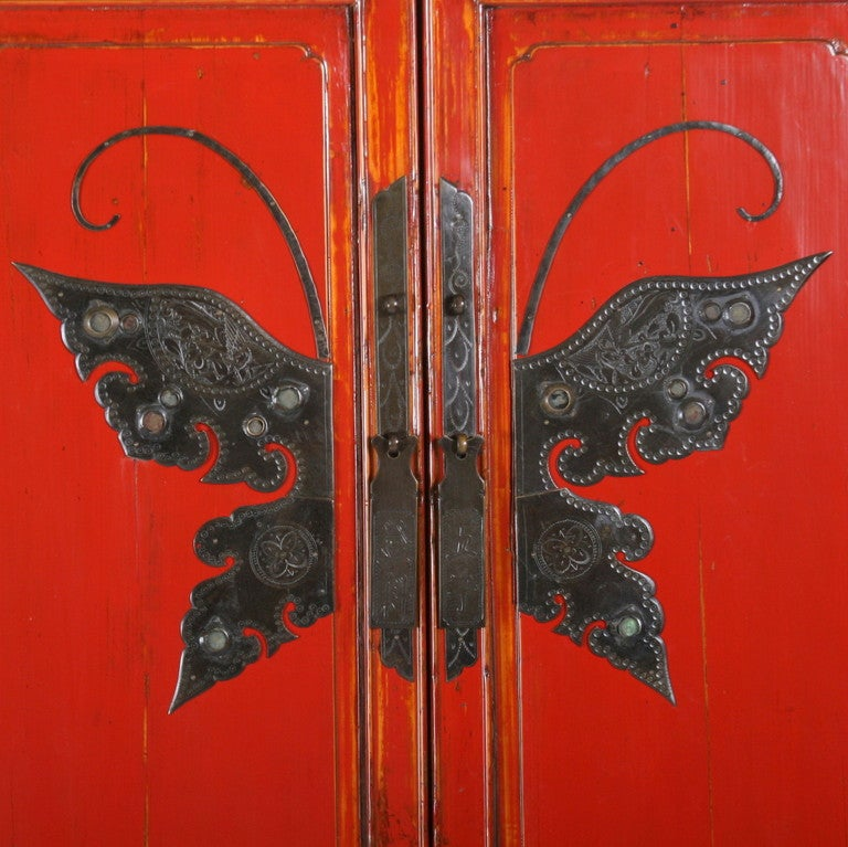 Antique Red Chinese Lacquered Cabinet Armoire With Ornate
