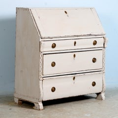 Antique White Painted Swedish Secretary, circa 1860