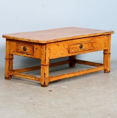 Antique Swedish Coffee Table with Striking New Painted Finish