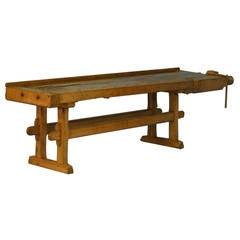 Antique Long Carpenter's Workbench, dated 1928