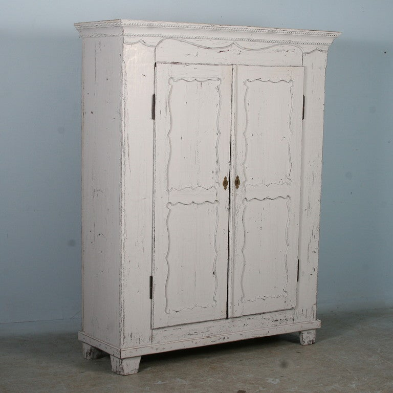 Antique White Painted Armoire, Sweden circa 1880 2