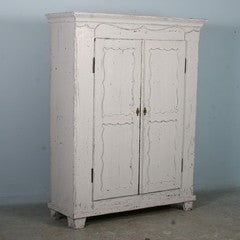Antique White Painted Armoire, Sweden circa 1880 image 2