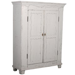 Antique White Painted Armoire, Sweden circa 1880