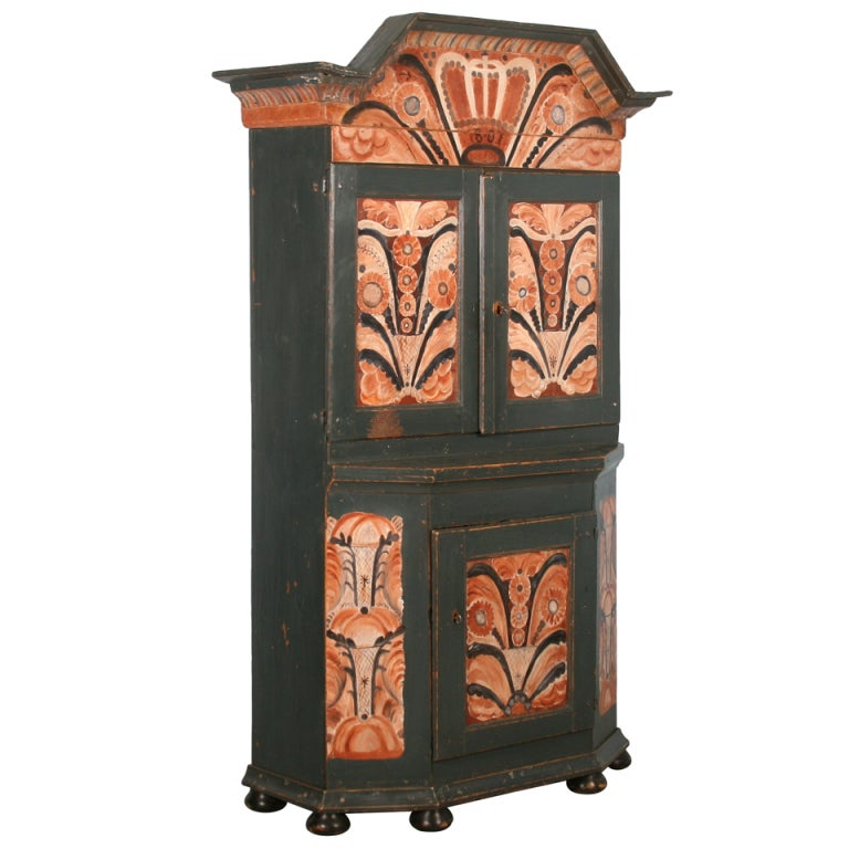 Antique Painted Swedish Cabinet/Cupboard, Circa 1800-40