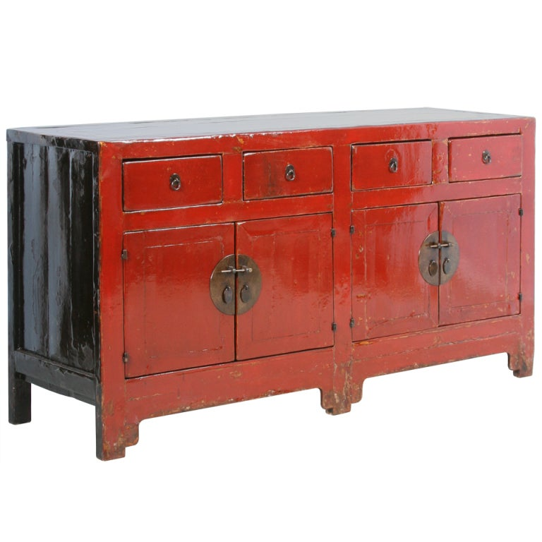 Antique red lacquered chinese sideboard console at 1stdibs for Red chinese furniture