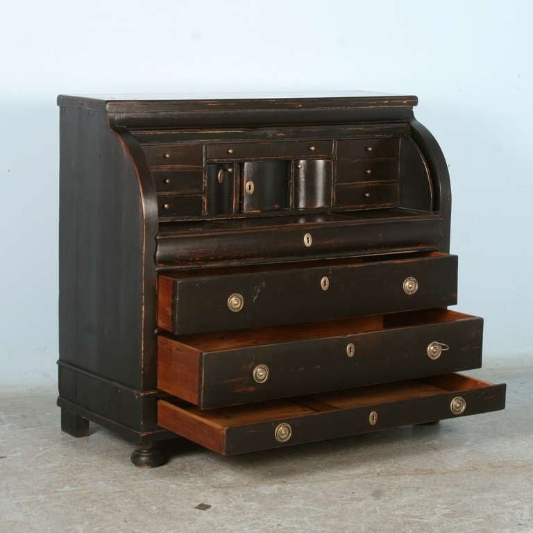 Danish Antique Black Painted Secretary Rolltop Desk Denmark Circa 1840 For
