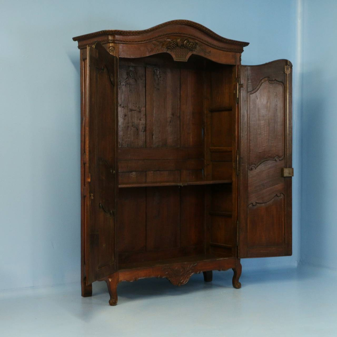 Antique French Carved Oak Armoire, circa 1800 at 1stdibs