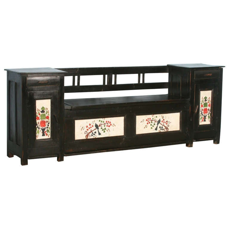 Antique Original Painted Black Bench with Additional Cabinet/Drawer Storage