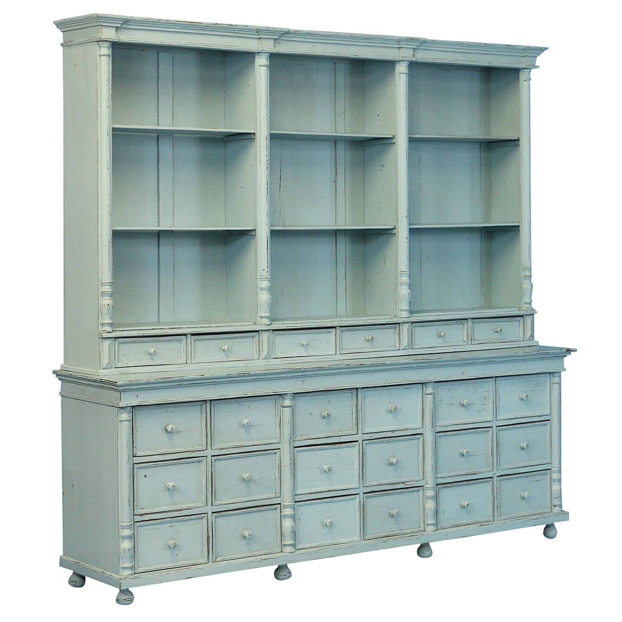 ... Blue Painted Wall Unit Cabinet Made from Reclaimed Wood 1880s Sweden