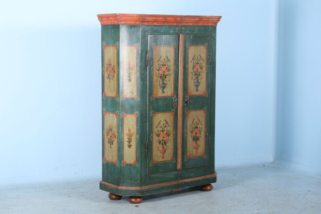 Antique German Hand Painted Armoire Dated 1821. This Amazing German Armoire  Boasts Superb Hand Painting