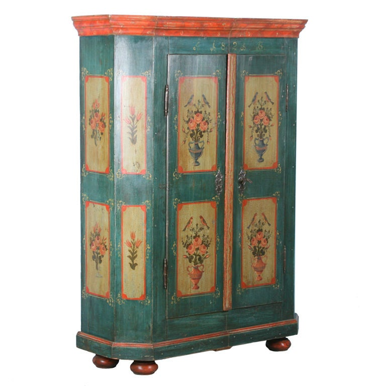 Antique German Hand Painted Armoire With Birds And Florals 1