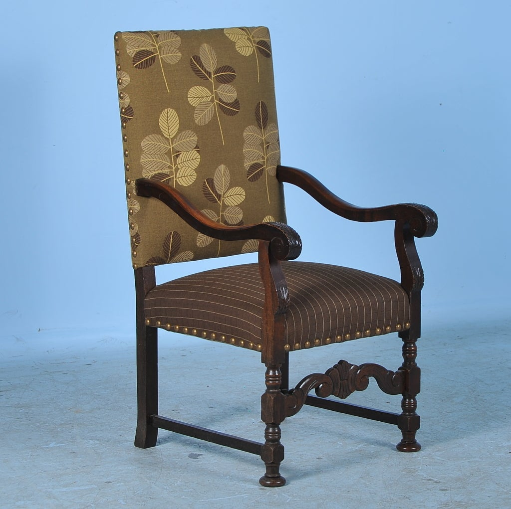 Oak Chairs With Arms ~ Antique danish carved oak arm chair w contemporary leaf