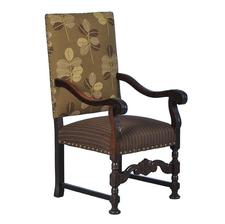 Antique Danish Carved Oak Arm Chair W Contemporary Leaf