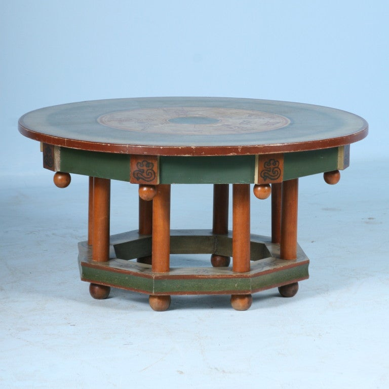 Original Painted Danish Round Coffee Table With Mythical Figures At 1stdibs