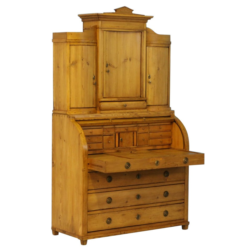 Antique pine secretaire with hidden compartment denmark for Furniture w hidden compartments