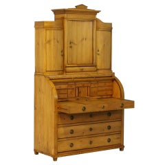 Antique Pine Secretary with Hidden Compartment, Denmark, circa 1840