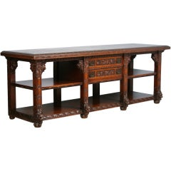 Exceptional Long Carved Oak Sideboard