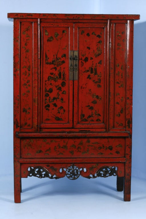 PAIR, Red Lacquered Chinese Cabinets/Armoires, Circa 1770 2